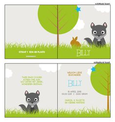 Geboortekaartje met wolf - geboortekaartje met beestjes / dieren. Ontwerp dit kaartje zelf, met onze ontwerptool. www.geboortekaartjesdrukkerij.nl #geboortekaartjes, #geboorte, #kaartjes, #zelfontwerpen, #ontwerpen, #uniek, #jongen, #zwanger, #baby, #vosje, #Lief,