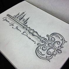 A skeleton key tattoo with a skyline... love it!