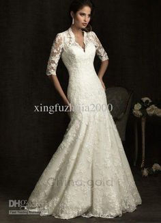 Wholesale 2012 sexy Mermaid lace V neck Court Train Elbow sleeves Wedding Dresses Bridal Gown Bride dress, Free shipping, $136.25-172.5/Piece | DHgate
