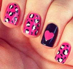 Cheetah and pink heart on black