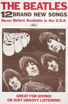 An original 1965 Capitol Records promotional poster, issued to announce the release of the Beatles' classic Rubber Soul album. Rubber Soul was issued on Dece Beatles Poster, Beatles Band, The Beatles, Beatles Party, Beatles Rubber Soul, Rubber Soul Album, John Lennon Paul Mccartney, Band Posters, Music Posters
