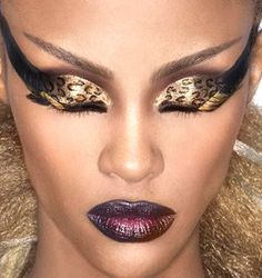 Beautiful Bronze/Golden Leopard Spots With Steep Black Wing Makeup Look (Play Down By Removing The False Lashes And Black Wing)