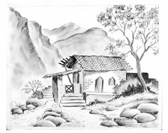 Landscape pictures for drawing and landscape drawings in pencil landscapes Landscape Pictures For Drawing, Scenery Drawing Pencil, Pencil Sketches Landscape, Pencil Drawings Of Nature, Beautiful Pencil Drawings, Nature Drawing, Landscape Drawings, Cool Art Drawings, Art Drawings Sketches