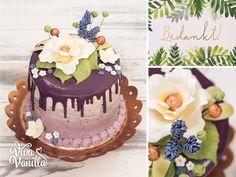 Viva Vanilla - Bedank taartje met fondant bloemen, paarse ganache drip en zijdezachte botercrème.