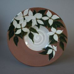 handmade decorative stoneware plate with white by JCalcagnoPottery