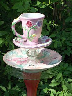 Garden Stake Cup of Tea Garden Stake  Bird by GardenWhimsiesByMary, $30.00