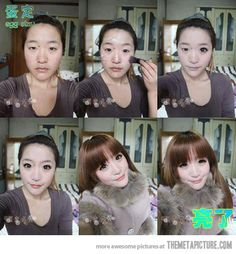 Asian girl before and after make up… O.O wtf