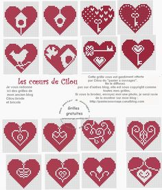 Lots of small Christmas hearts. Cards, detail on a gift tag, detail on hand warmer. Very versatile Cross Stitch Boards, Cross Stitch Heart, Cross Stitch Alphabet, Cross Stitching, Cross Stitch Embroidery, Cross Stitch Designs, Cross Stitch Patterns, Christmas Cross, Christmas Hearts