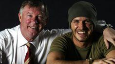 BBC Sport - Sir Alex Ferguson: David Beckham tribute to retiring Man Utd boss Manchester United Legends, Manchester United Football, Major League Soccer, Soccer Players, Alex Ferguson Book, Man Utd Fc, We Are The Champions, England Football, Man United