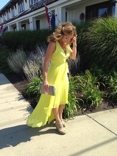 BCBG neon yellow hi-low dress, Elaine Turner clutch