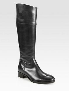 10022-SHOE Saks Fifth Avenue - Orlando Leather Knee-High Riding Boots - Saks.com