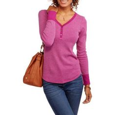 Faded Glory Women's Thermal Henley, Size: Large, Purple