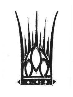 linocut, crown