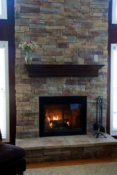 Mountain Ledge Stone Fireplace...yes, on my double sided fireplace