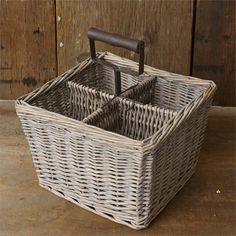 New Primitive Shabby Farmhouse Chic Divided Whitewash Basket Rusty Handle  #YHD