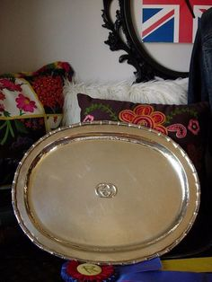 Utra RARE Vintage GUCCI Silver Table Service Tray Platter Cocktail Party Plate  #Gucci
