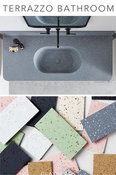 Terrazzo bathroom tiles for your sink, floors or walls by Claybrook Interiors. If you're looking for Terrazzo bathroom ideas for your counters, basin or shower, look no further. Hotel Room Design, Lobby Design, Restaurant Interior Design, Bathroom Trends, Bathroom Ideas, Bathroom Organization, Small Bathroom, Bathrooms, Couch Design