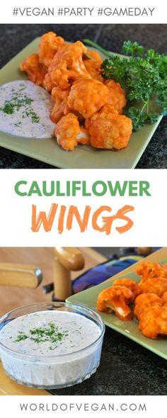 Cauliflower Buffalo Wings Recipe | Game Day Favorite | WorldofVegan.com | #superbowl #footbal #gameday #cauliflower #vegan #vegetarian #recipe #party