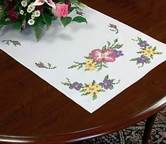 Dimensions Stamped Cross Stitch Kit WILD ROSES Table Runner