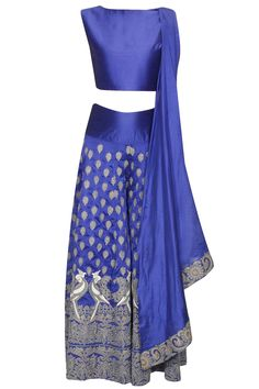 SURENDRI BY YOGESH CHAUDHARY Blue mithu embroidered crop top and sharara set availaible only at Pernia's Pop Up Shop.
