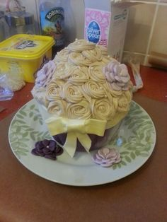 Giant cupcake - purple marbled icing base white chocolate buttercream.