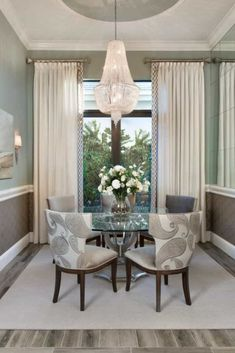 Dining Room Curtains Home Design Ideas, Pictures, Remodel and Decor Here we have great wallpaper about dining room drapes ideas. We hope th. Dining Room Drapes, Glass Dining Room Table, Dining Room Blue, Dining Decor, Dining Room Design, Dining Room Furniture, Wood Table, Curtains Living, Dining Area