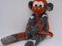 Handmade sock monkey : Barney ( Longhorns)  ~ The original 100% hand stitched plush animal made by Chiki Monkeys by ChikiMonkeys on Etsy