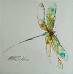 Watercolor dragonfly tattoo idea. Add some pink to this and...wow! / Tattoo Ideas