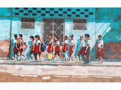 Havana schoolchildren on their way to school