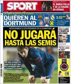 Los Titulares y Portadas de Noticias Destacadas Españolas del 12 de Abril de 2013 del Diario Deportivo Sport ¿Que le parecio esta Portada de este Diario Español?