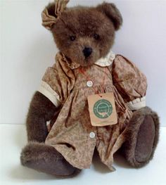 """Corina Boyd's Bears calico dress matching bow mixed brown color 16"""" retired tag #AllOccasion"""