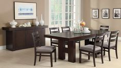 Coaster Dabny Dining Set - Cappuccino - This transitional dining table made of ash solids and hardwoods in cappuccino Finish provides easy-going style to your casual or semi-formal dining room. The modern table features clean lines with the substantial H-form double pedestal bases. The pull out extension leaf enhances the versatility of this table so it adjusts to the size you need, no matter the occasion. Complete seating with the ladder back chairs.
