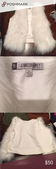 Jennifer Lopez faux fur Sweater Vest‼️Size S!SALE Jennifer Lopez White faux Fur Sweater Vest ! Size Small ! NEVER WORN! With tag Sweaters
