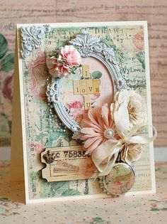 Ideas For Shabby Chic Cards Handmade Life Cool Cards, Diy Cards, Mixed Media Cards, Shabby Chic Cards, Beautiful Handmade Cards, Card Making Inspiration, Creative Inspiration, Pretty Cards, Card Tags