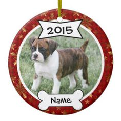 Create a Custom Dog Photo Ornament for Christmas with a picture of your favorite pet. Choose from several holiday designs and personalize with your dogs photo, name and year for a memorable gift.