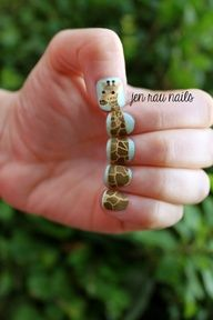 Giraffe nail art using acrylic paint and Essie matte about you top coat; nail design