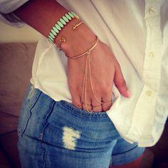 Really loving this combo of bracelets #bracelet #jcrew #hm #boyshorts #hm #shirt #jcrew #rippedjeans #love #cute #chic #simple #fashion #properpinkfashion #follow #followme