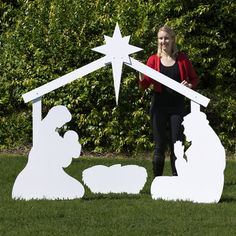 Large Silhouette White Outdoor Nativity Set - Holy Family Scene by Outdoor Nativity Store