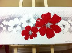 Original textured acrylic Red flower abstract landscape