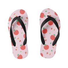 Cute Apple Pattern with Pink Background Kid's Flip Flops Girls Flip Flops, Flipping, Girls Shoes, Keep It Cleaner, Shoes Sandals, Apple, Cute, Pattern, Pink