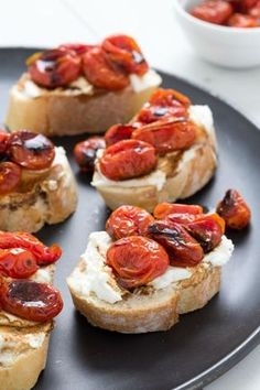 Fresh tomatoes are fine, but roasted tomatoes with a splash of balsamic vinegar is a sweet party trick. Slather toast with ricotta, top with roasted tomatoes, and bake until warm.