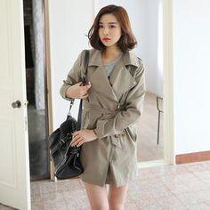 Envy Look - Zip-Up Trench Coat with Sash