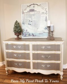 French Provincial dresser make over with gold gilding! Painted with Annie Sloan Old White & French Linen.