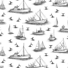 Black and white boat and whale toile. Boat Illustration, Illustration Artists, Pattern Illustration, Spring Animals, Black Cowboys, Boating Outfit, Coastal Art, Christmas Gifts For Women, Surface Design