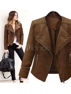 35d03f65d0a Short Brown Jacket Women s PU Leather Long Sleeve Zippers Deco Moto Jacket  Biker Jacket Outfit