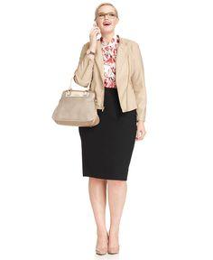 Work Your Wardrobe Plus Size Pencil Skirt & Faux-Leather Jacket Look - Plus Size Suits & Separates - Plus Sizes - Macys