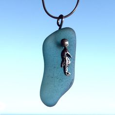 Alluring Aqua Sea Glass Necklace With Silver Seahorse Charm by TradeWindsSeaGlass on Etsy