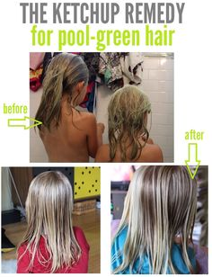 If Your Goes Green Use Tomato Ketchup To Bring It Back To Blonde As Its A Natural Toner.