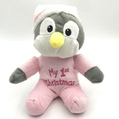 Dan Dee Collectors Choice My First Christmas Penguin Plush Stuffed Animal Pink #DanDee My First Christmas, Cute Stuffed Animals, Penguins, Dan, Plush, Teddy Bear, Cool Stuff, Toys, Activity Toys