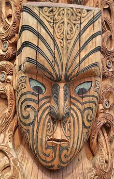 New Zealand's Maori. a variation of the tiki Moko New Zealand Tattoo, New Zealand Art, Maori Face Tattoo, Maori Tattoos, Tiki Totem, Tiki Tiki, Polynesian Art, Tiki Mask, Maori Tattoo Designs